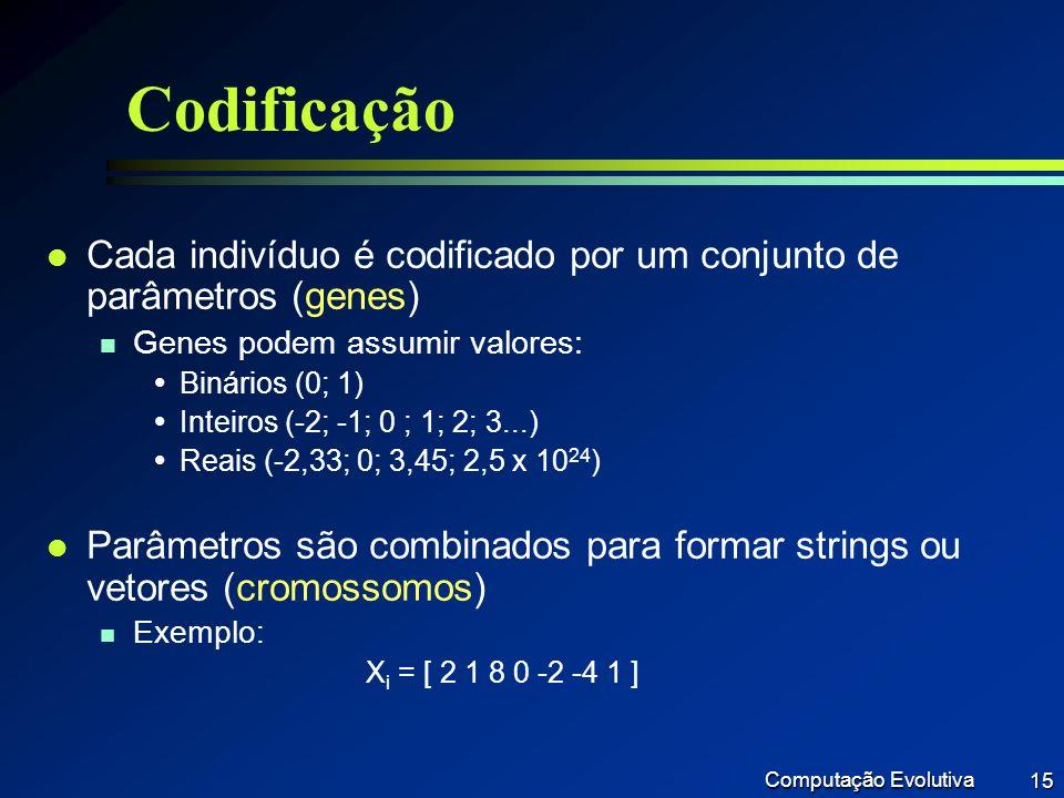 Codificação Cada indivíduo é codificado por um conjunto de parâmetros (genes) Genes podem assumir valores: