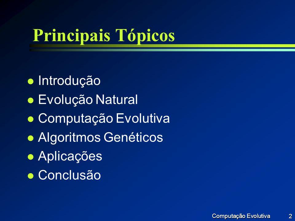Principais Tópicos Introdução Evolução Natural Computação Evolutiva