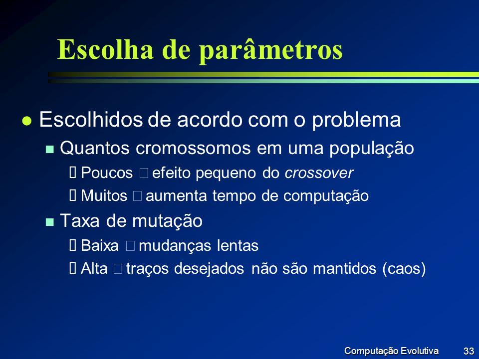Escolha de parâmetros Escolhidos de acordo com o problema