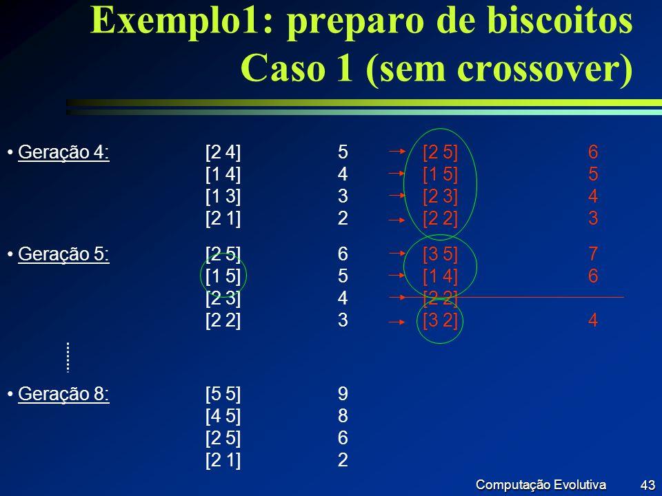 Exemplo1: preparo de biscoitos Caso 1 (sem crossover)