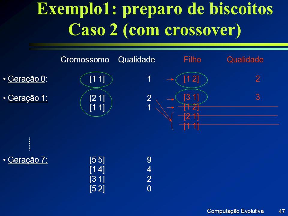 Exemplo1: preparo de biscoitos Caso 2 (com crossover)