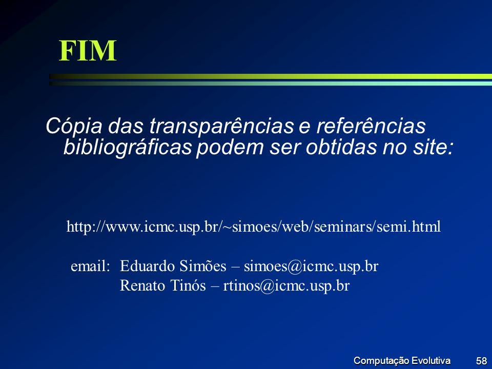 FIM Cópia das transparências e referências bibliográficas podem ser obtidas no site: http://www.icmc.usp.br/~simoes/web/seminars/semi.html.
