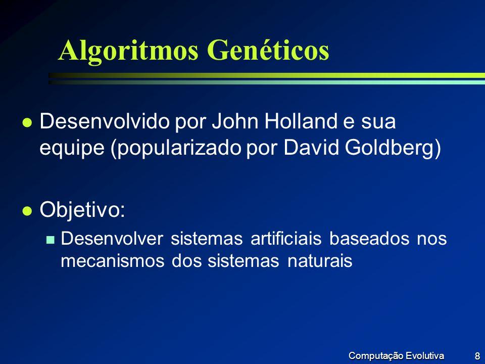 Algoritmos Genéticos Desenvolvido por John Holland e sua equipe (popularizado por David Goldberg) Objetivo: