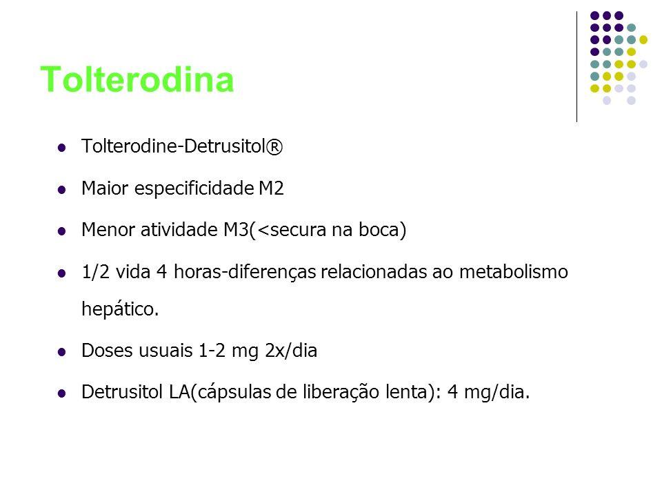 Tolterodina Tolterodine-Detrusitol® Maior especificidade M2