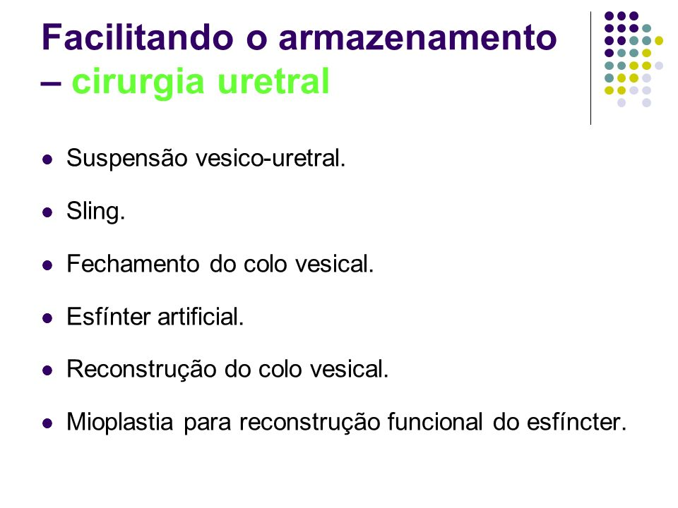Facilitando o armazenamento – cirurgia uretral