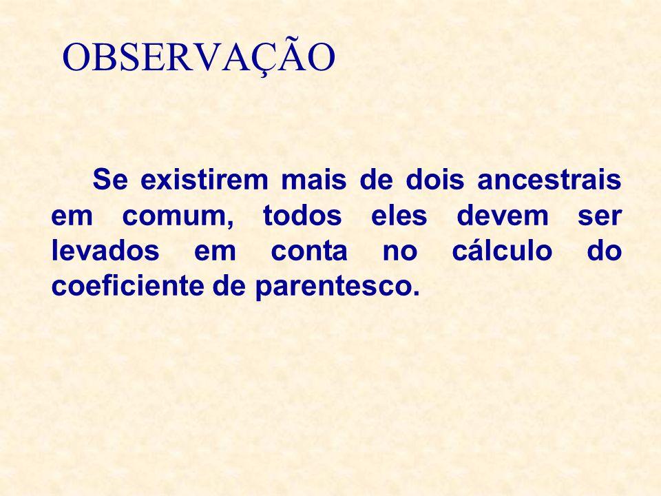 OBSERVAÇÃOSe existirem mais de dois ancestrais em comum, todos eles devem ser levados em conta no cálculo do coeficiente de parentesco.