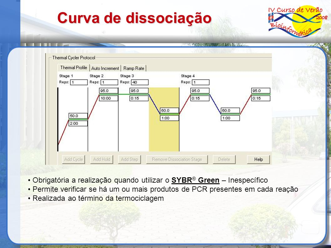 Curva de dissociaçãoObrigatória a realização quando utilizar o SYBR® Green – Inespecífico.
