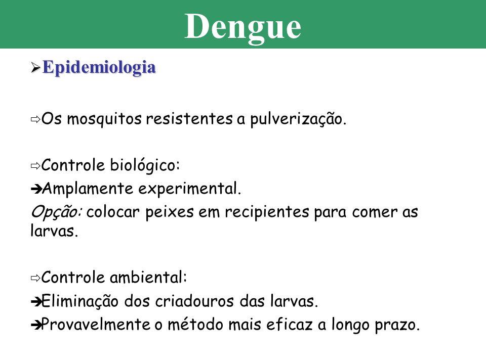 Dengue Epidemiologia Os mosquitos resistentes a pulverização.
