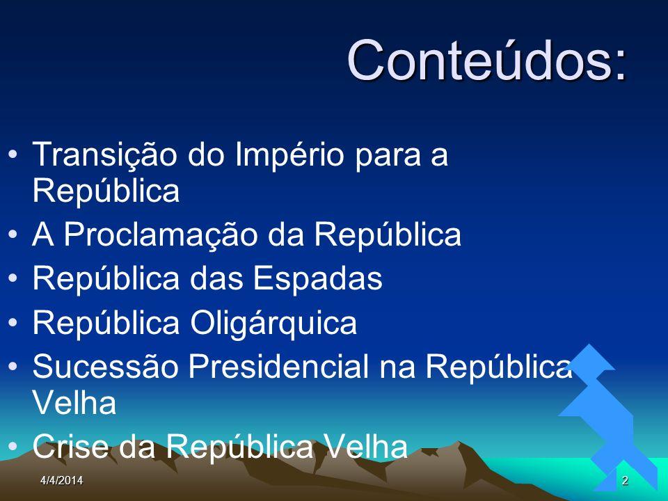 Conteúdos: Transição do Império para a República