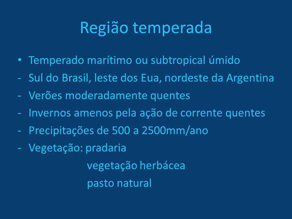 Região temperada Temperado marítimo ou subtropical úmido