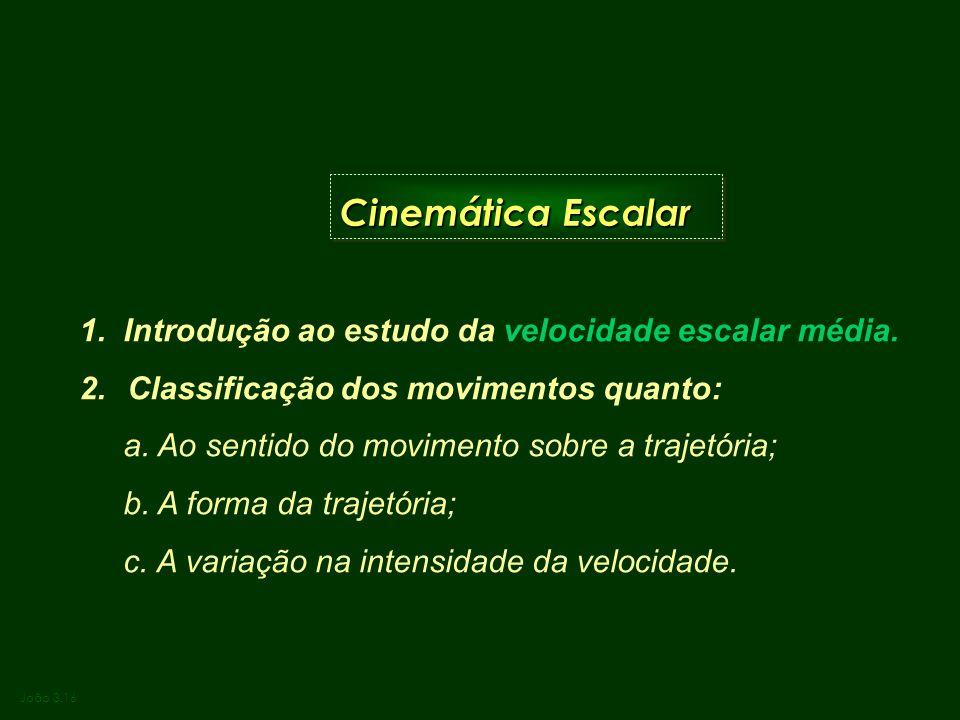 Cinemática Escalar 1. Introdução ao estudo da velocidade escalar média. Classificação dos movimentos quanto: