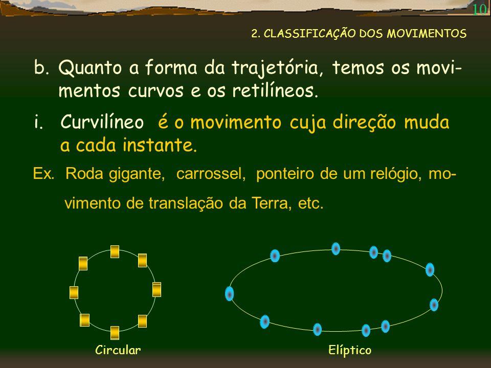 Curvilíneo é o movimento cuja direção muda a cada instante.
