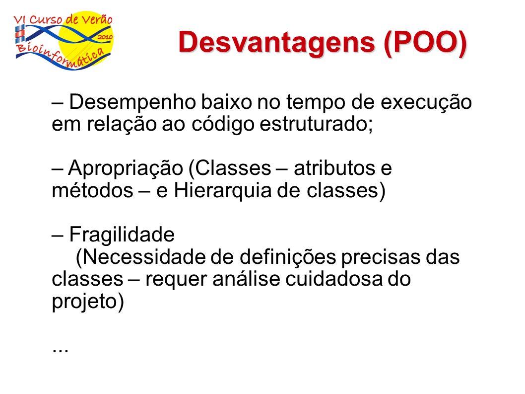 Desvantagens (POO) – Desempenho baixo no tempo de execução em relação ao código estruturado;