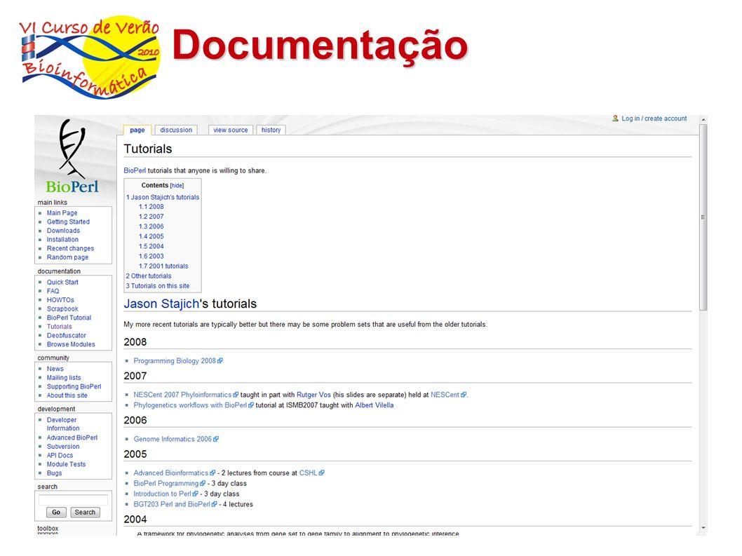 Documentação $ perldoc Bio::SeqIO http://docs.bioperl.org 21