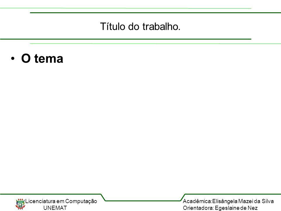 Licenciatura em Computação UNEMAT