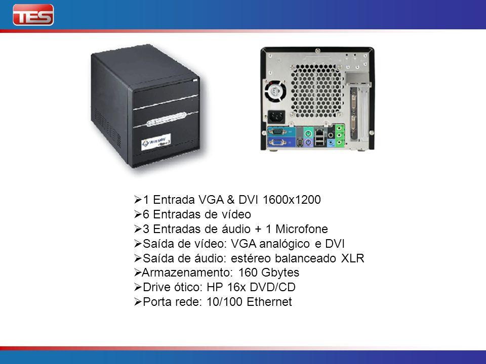 1 Entrada VGA & DVI 1600x1200 6 Entradas de vídeo. 3 Entradas de áudio + 1 Microfone. Saída de vídeo: VGA analógico e DVI.