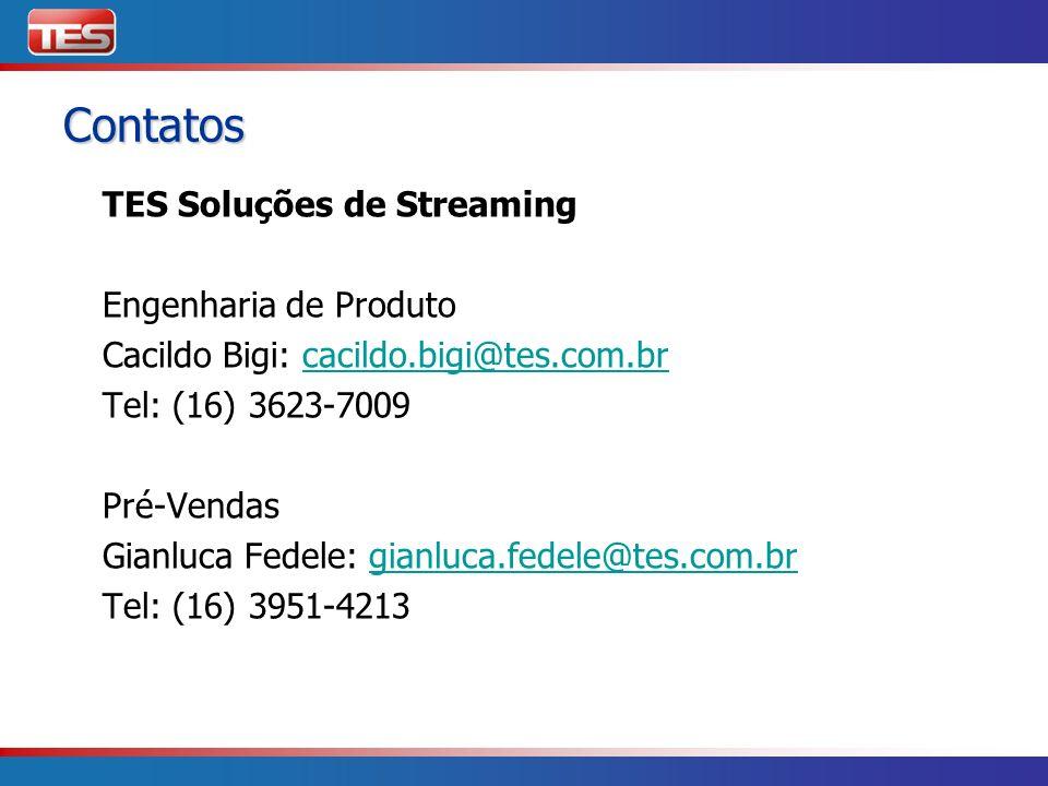 Contatos TES Soluções de Streaming Engenharia de Produto