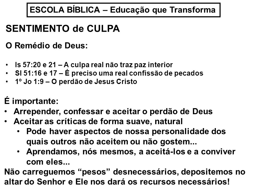 SENTIMENTO de CULPA ESCOLA BÍBLICA – Educação que Transforma