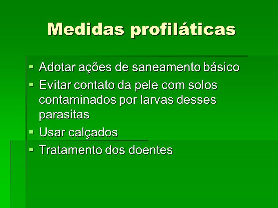 Medidas profiláticas Adotar ações de saneamento básico