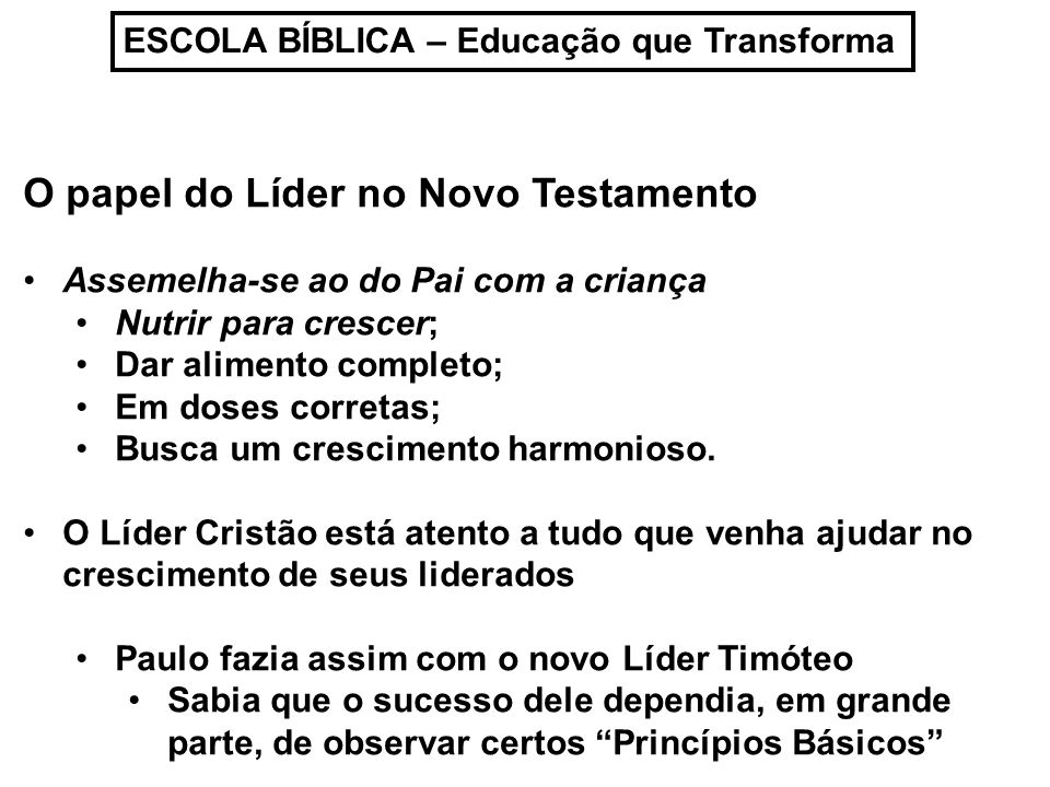 O papel do Líder no Novo Testamento