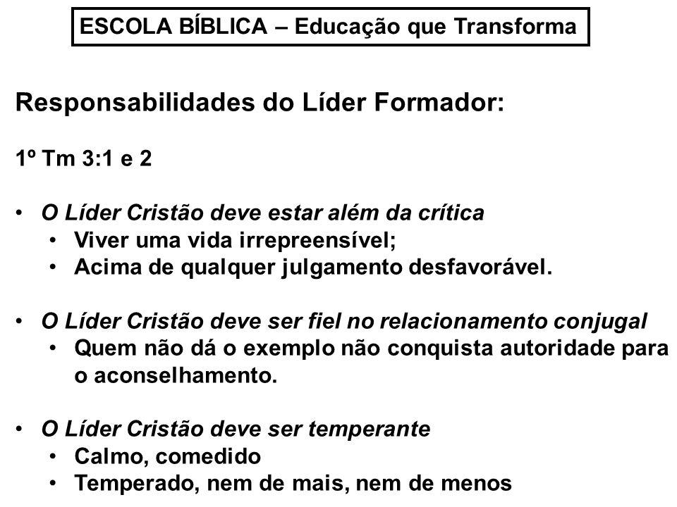 Responsabilidades do Líder Formador:
