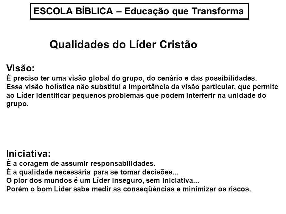 Qualidades do Líder Cristão