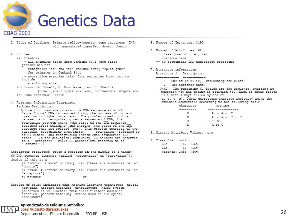 Genetics Data 1. Title of Database: Primate splice-junction gene sequences (DNA) with associated imperfect domain theory.
