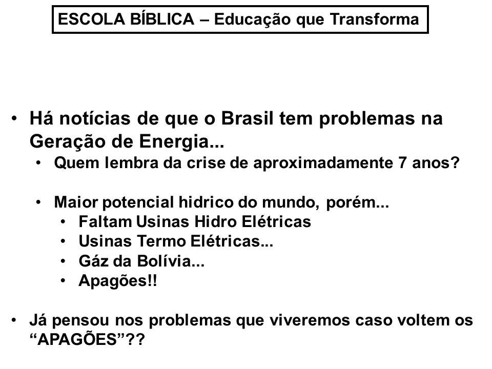 Há notícias de que o Brasil tem problemas na Geração de Energia...