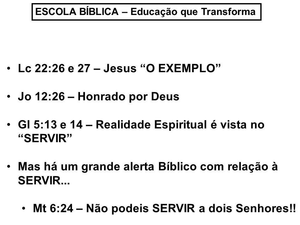 Lc 22:26 e 27 – Jesus O EXEMPLO Jo 12:26 – Honrado por Deus