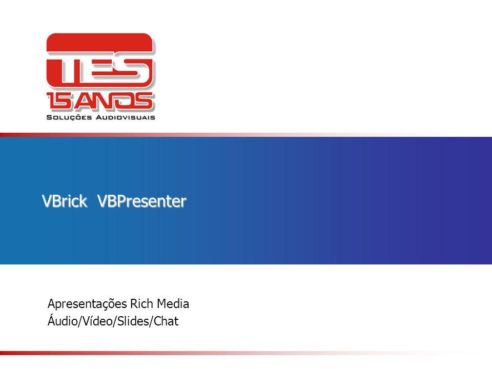 Apresentações Rich Media Áudio/Vídeo/Slides/Chat