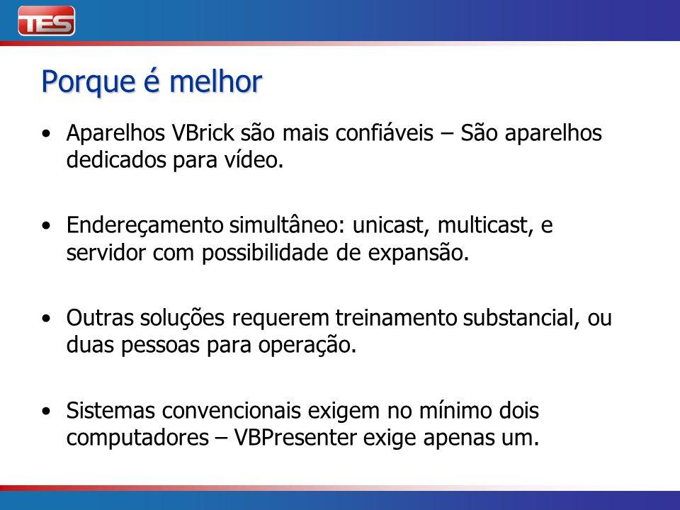 Porque é melhor Aparelhos VBrick são mais confiáveis – São aparelhos dedicados para vídeo.