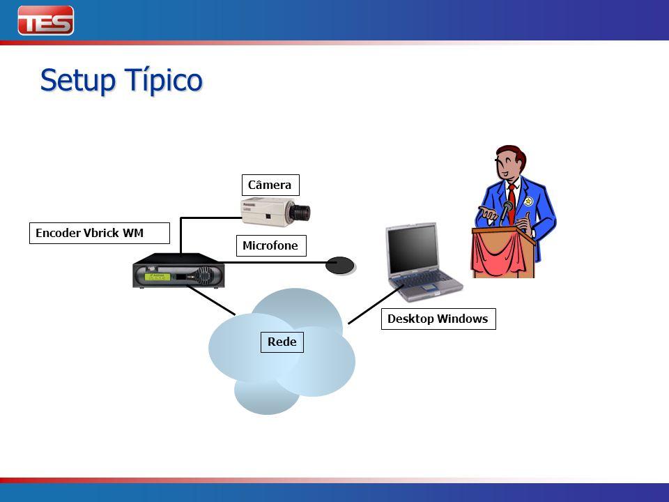 Setup Típico Câmera Encoder Vbrick WM Microfone Desktop Windows Rede