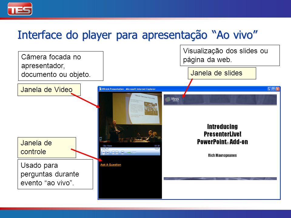 Interface do player para apresentação Ao vivo