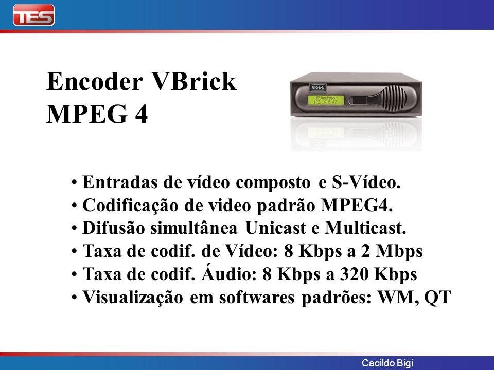 Encoder VBrick MPEG 4 Entradas de vídeo composto e S-Vídeo.