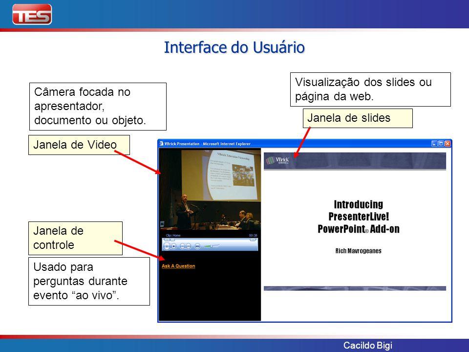 Interface do Usuário Visualização dos slides ou página da web.