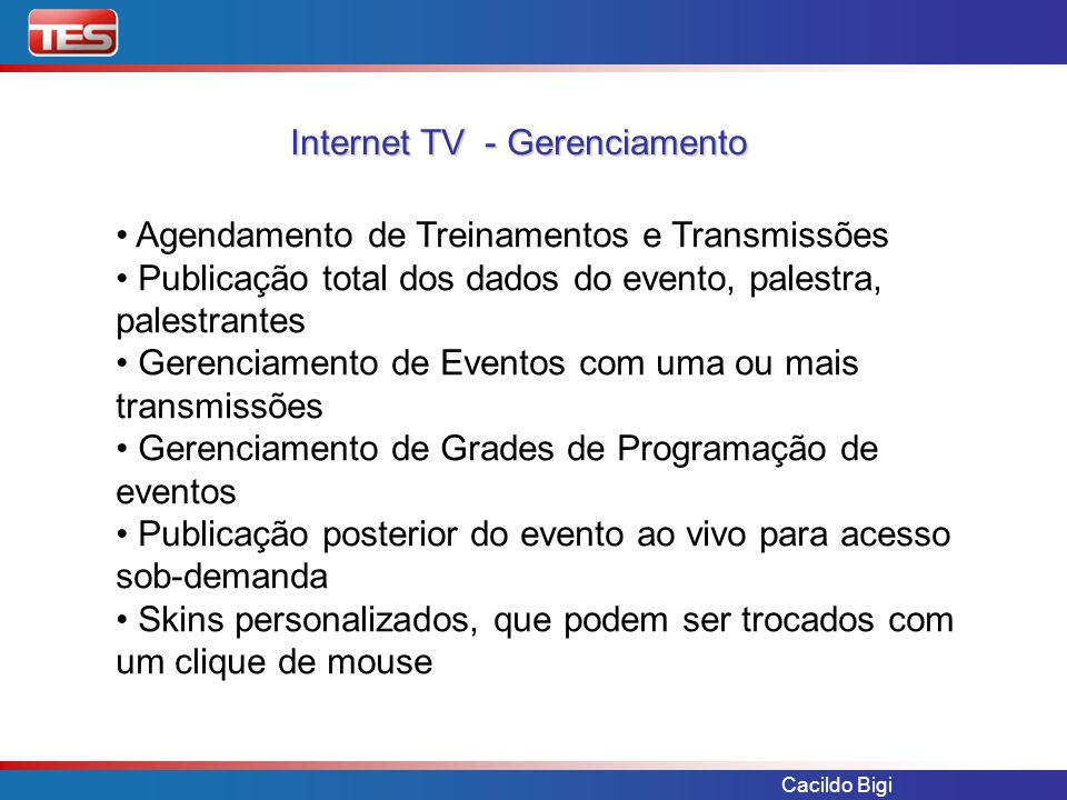 Internet TV - Gerenciamento