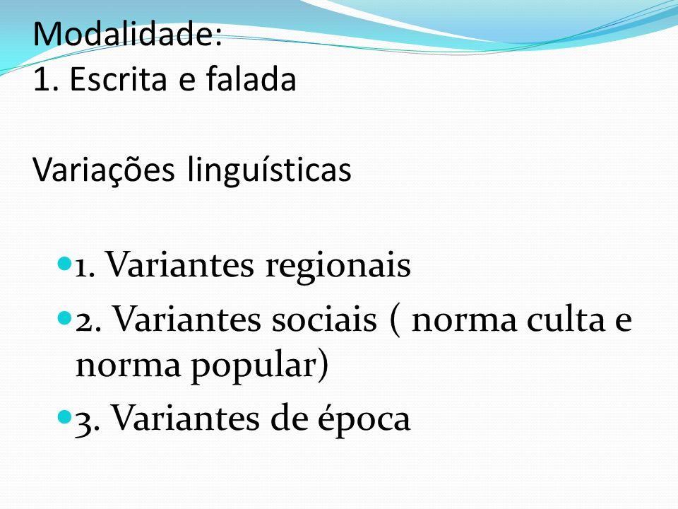 Modalidade: 1. Escrita e falada Variações linguísticas