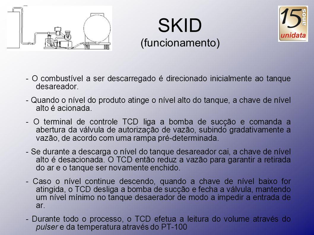 SKID (funcionamento)- O combustível a ser descarregado é direcionado inicialmente ao tanque desareador.