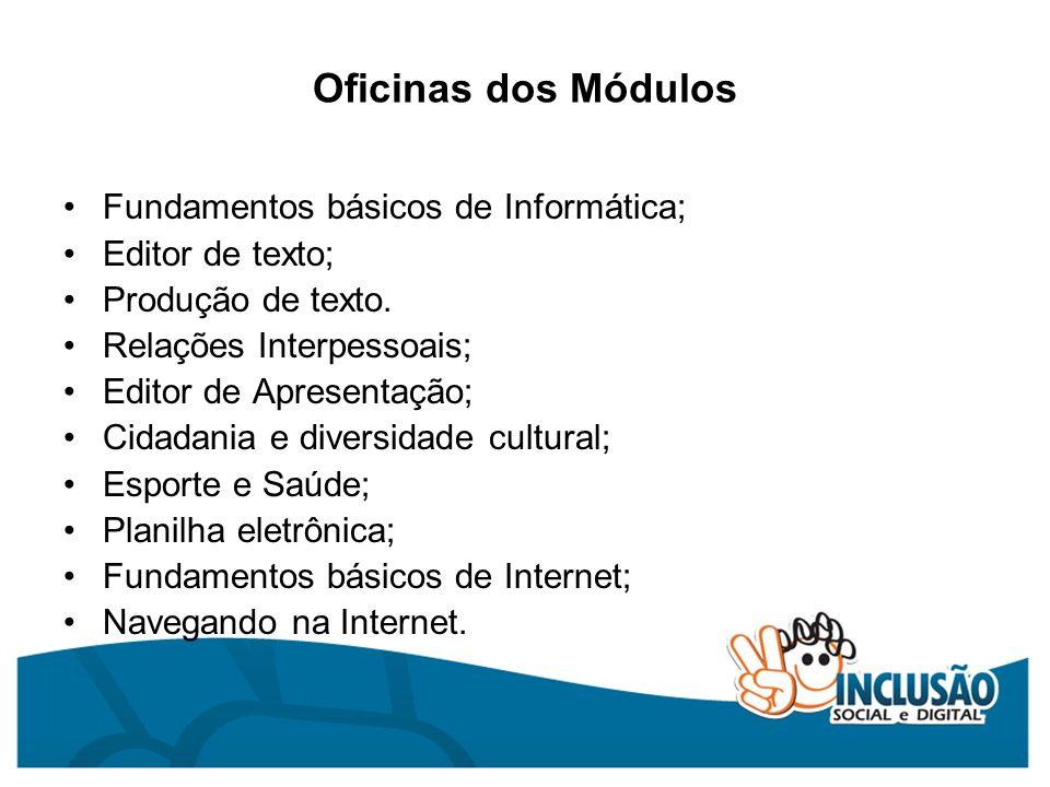 Oficinas dos Módulos Fundamentos básicos de Informática;