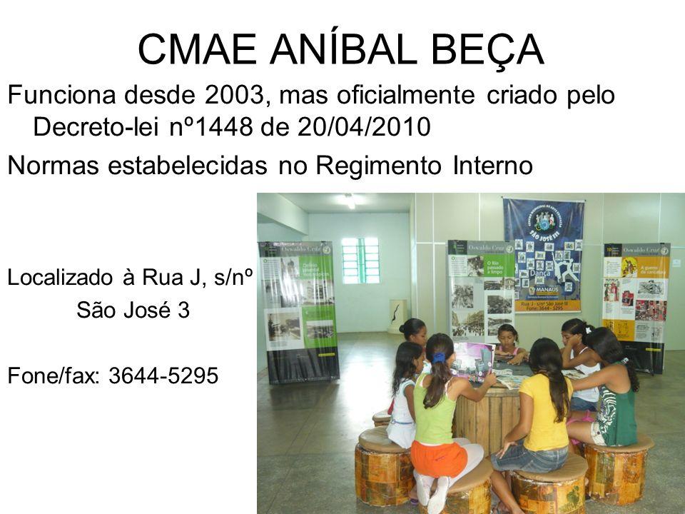 CMAE ANÍBAL BEÇA Funciona desde 2003, mas oficialmente criado pelo Decreto-lei nº1448 de 20/04/2010.