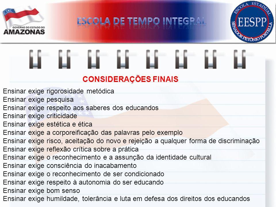 CONSIDERAÇÕES FINAIS Ensinar exige rigorosidade metódica