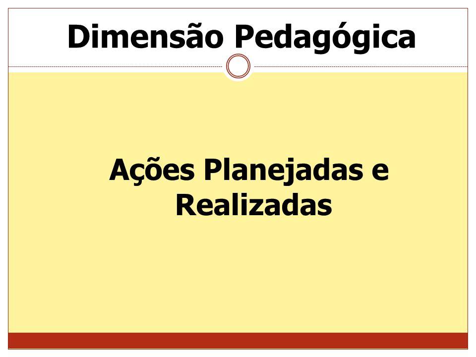 Dimensão Pedagógica Ações Planejadas e Realizadas