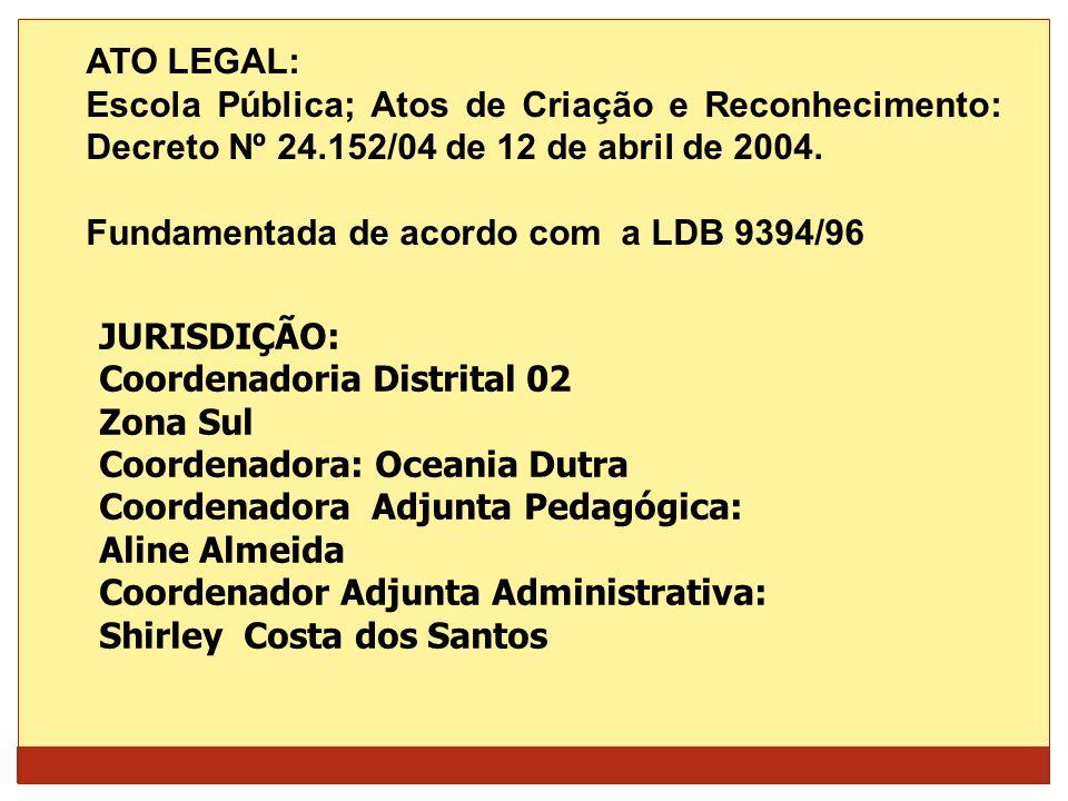 ATO LEGAL:Escola Pública; Atos de Criação e Reconhecimento: Decreto Nº 24.152/04 de 12 de abril de 2004.