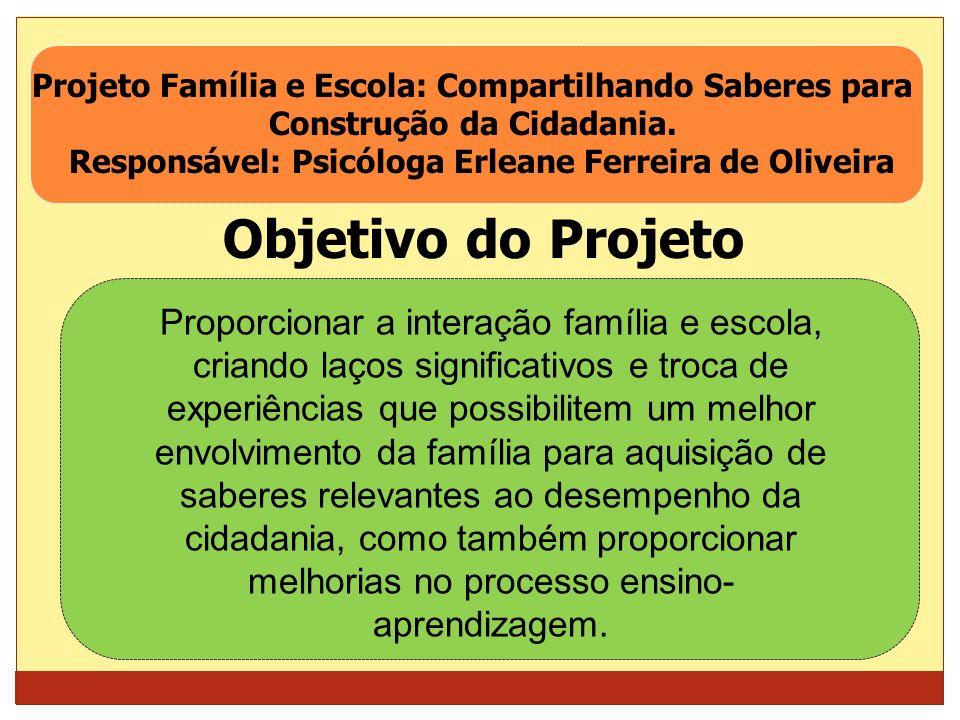 Responsável: Psicóloga Erleane Ferreira de Oliveira
