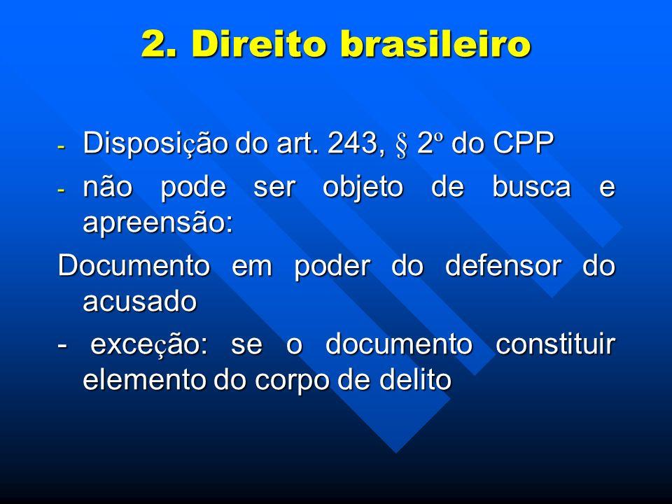 2. Direito brasileiro Disposição do art. 243, § 2º do CPP