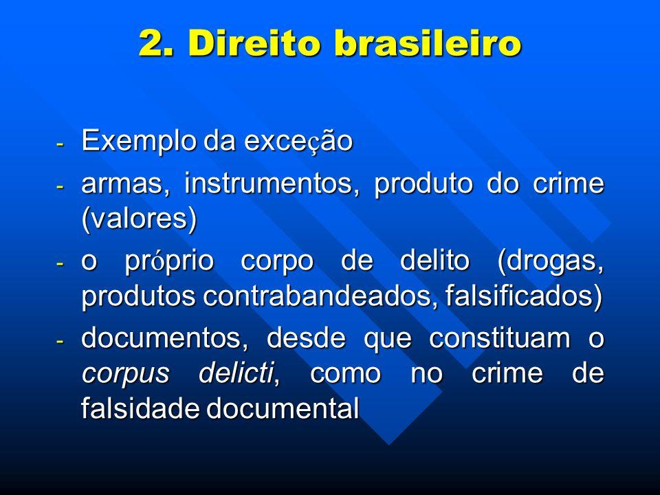2. Direito brasileiro Exemplo da exceção