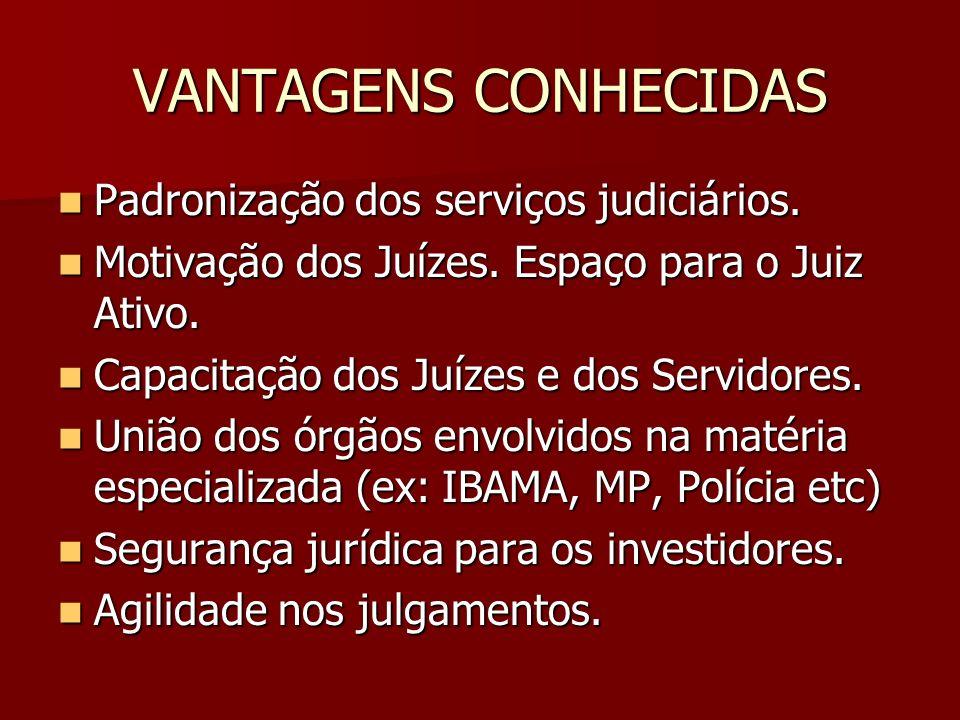 VANTAGENS CONHECIDAS Padronização dos serviços judiciários.