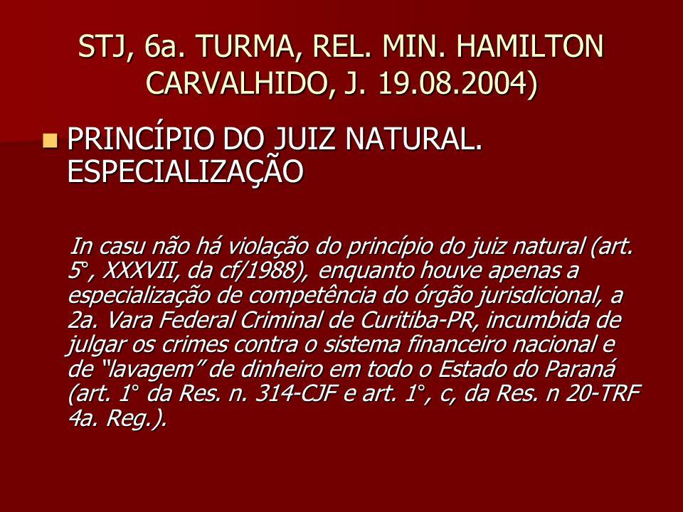 STJ, 6a. TURMA, REL. MIN. HAMILTON CARVALHIDO, J. 19.08.2004)