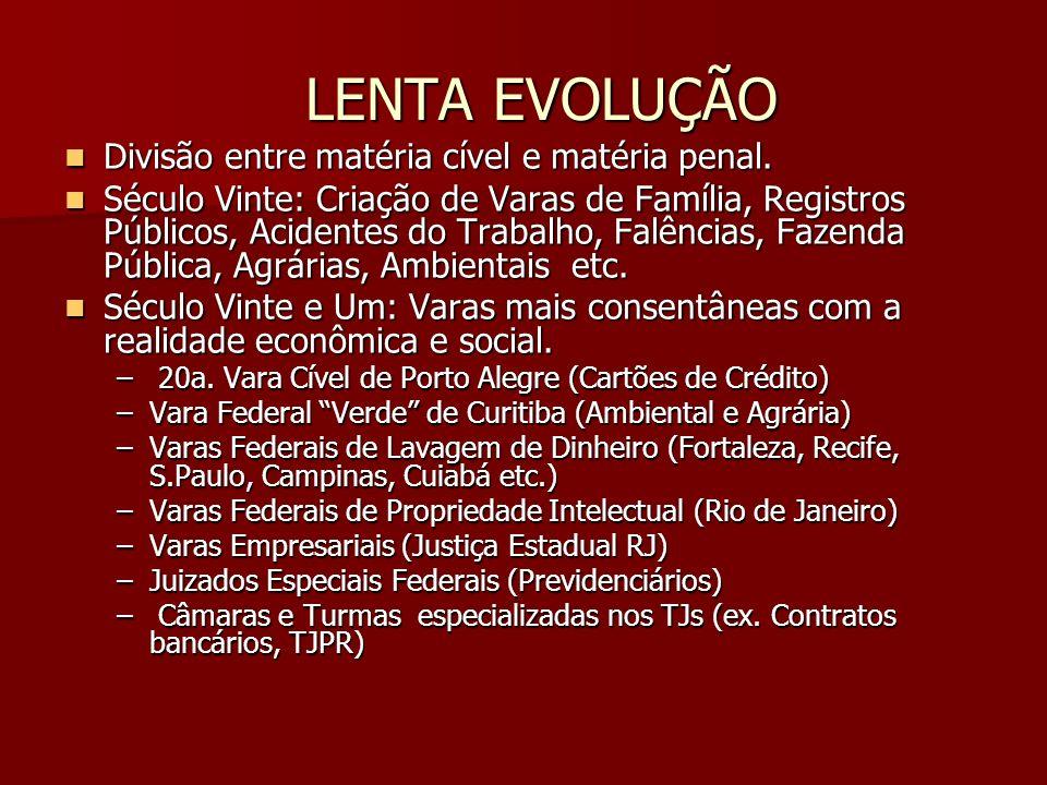 LENTA EVOLUÇÃO Divisão entre matéria cível e matéria penal.