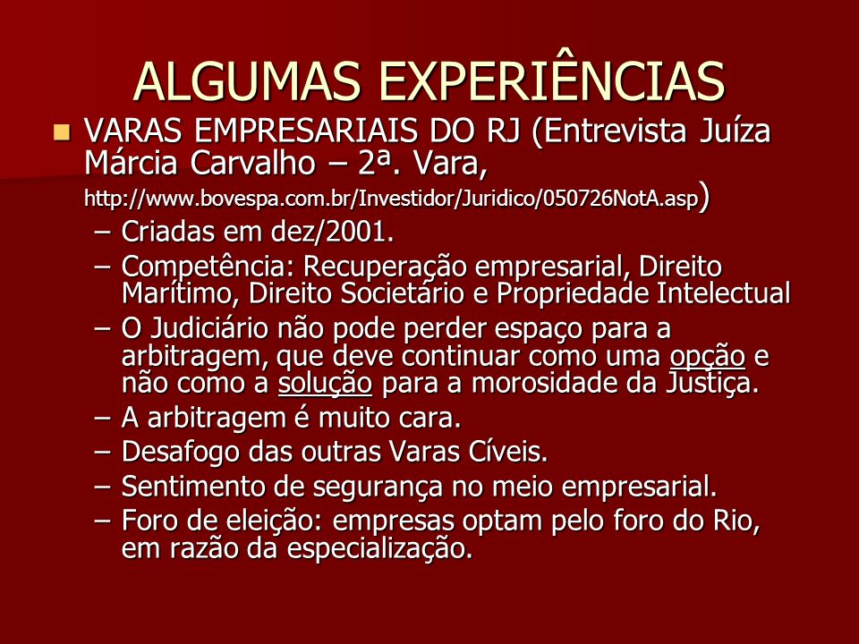 ALGUMAS EXPERIÊNCIAS